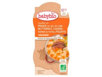 BABYBIO 2x BABYBIO Paštrnák s maslovou tekvíc, kačicou a polentou (200 g)