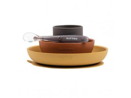 NATTOU NATTOU Set jedálenský silikonový 4 ks hnedo-terakotový bez BPA