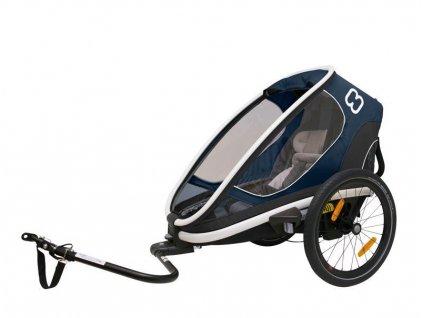 HAMAX HAMAX Outback One - jednomiestny vozík za bicykel vr. ramená + kočíkovú set - Navy Blue, polohovacie