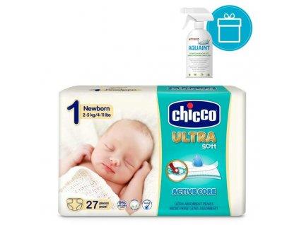 AQUAINT CHICCO Plienky jednorázové Ultra Newborn 2-5kg, 27 ks + AQUAINT 500 ml