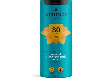 ATTITUDE ATTITUDE Detská 100% minerálna ochranná tyčinka na celé telo (SPF 30) bez vône 85 g