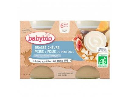 BABYBIO BABYBIO Brassé z kozieho mlieka hruška figa 2x130 g