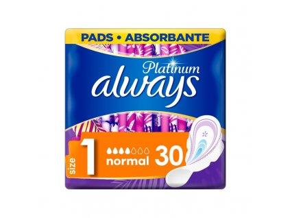 ALWAYS ALWAYS Platinum Normal (veľkosť 1) menštruačné vložky s krídelkami 30 ks