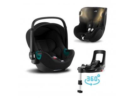 BRITAX Autosedačka set Baby-Safe 3 i-Size+Báze Flex Base Isense+Autosedačka Dualfix iSense, Space Black