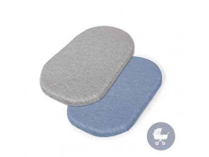 CEBA CEBA Plachta do kočíku 73-80x 30-37 cm 2 ks Light Grey+Blue
