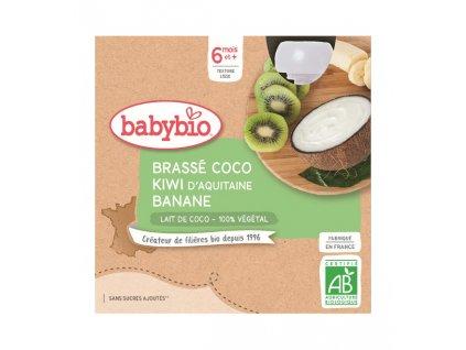 BABYBIO BABYBIO Desiata s kokosovým mliekom - kiwi a banán (4x 85 g)
