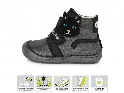 D.D.STEP kožené topánky 063 barefoot - mačka - black