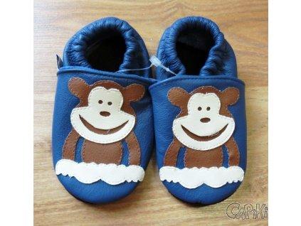 Afelo kožené capačky - Opička modrá