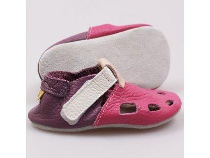 Tikki soft shoes - kožené capačky - Fuchsia