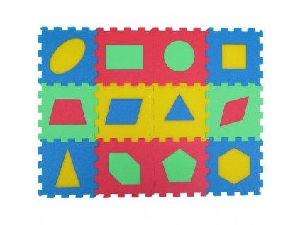MALÝ GÉNIUS Penový koberec 12 - Geometrické tvary