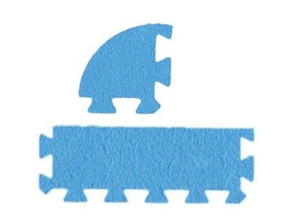 MALÝ GÉNIUS Penový koberec 24 - MAXI - hrubý / Súprava zakončovacích dielov - Jednofarebná - modrá