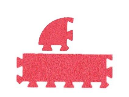 MALÝ GÉNIUS Penový koberec 24 - MAXI - hrubý / Súprava zakončovacích dielov - Jednofarebná - červená