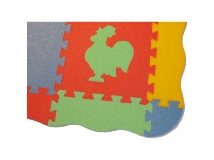 MALÝ GÉNIUS Penový koberec 36 - MAXI a 9 - XL VLNA - hrubý / Súprava zakončovacích dielov - Mix farieb