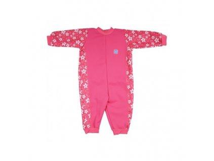 Splash About Baby Neoprén Overal Ružové kvietky