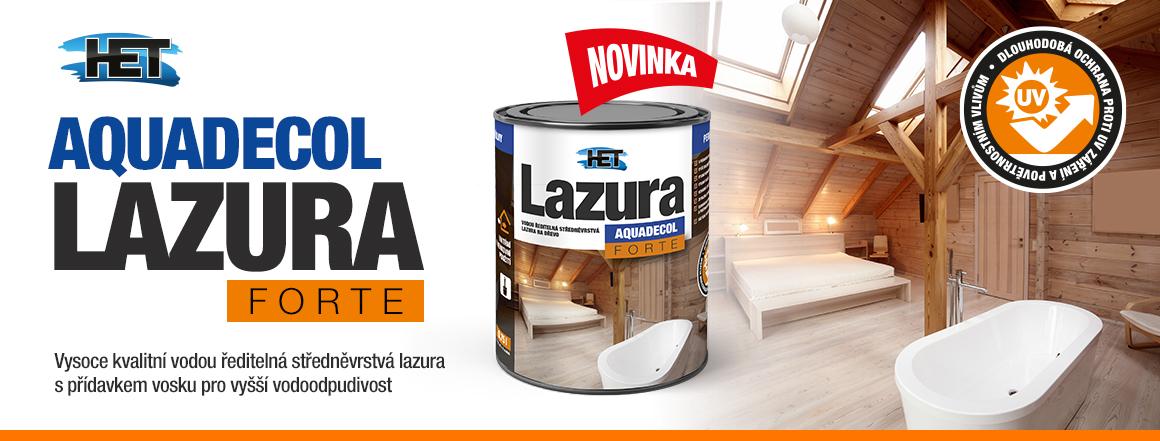 Vodou ředitelná středněvrstvá lazura Aquadecol Lazura Forte