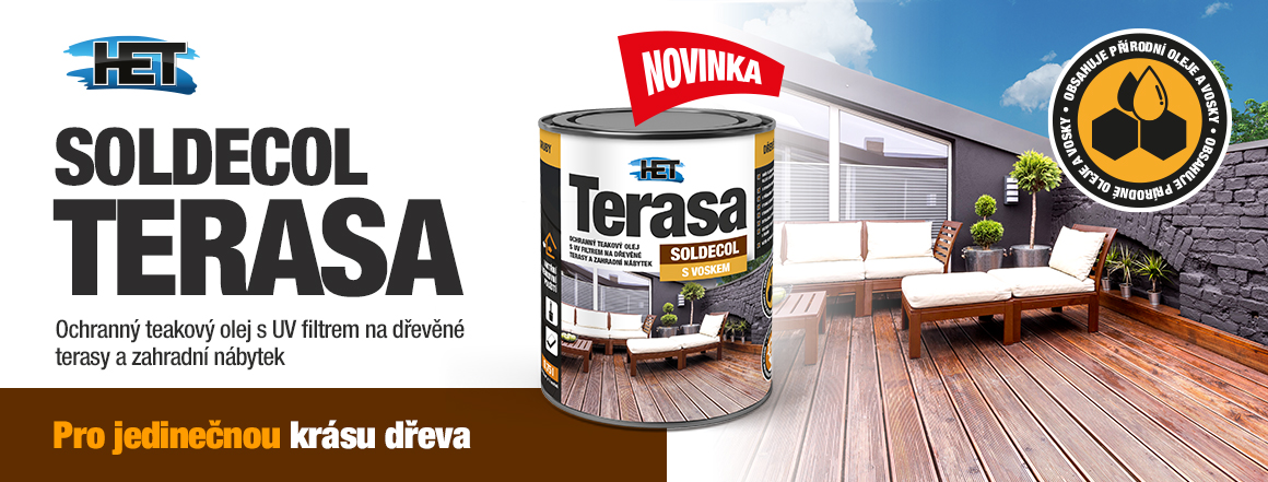 Soldecol Terasa je olej pro terasy a zahradní nábytek