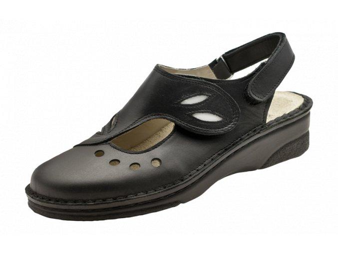 Schuerr Julia černý dámský sandál,vyměnitelná korková vložka,komfortní dámská pracovní obuv pro gastro provozy