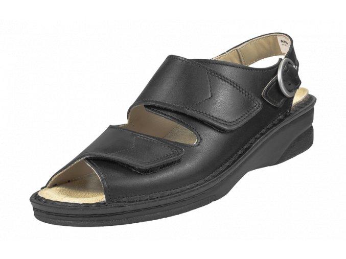 Schuerr Inge černý dámský pracovní sandál na klínku,protiskluzná dámská obuv pro gastronomii