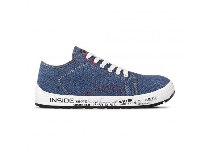Exena Sepang S1P:bezpečnostní polobotka z jeansové tkaniny,moderní pracovní obuv do lehkého průmyslu,do skladů a pod