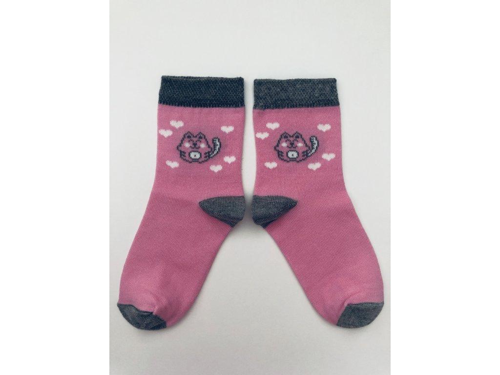 Ponožky kočička růžová