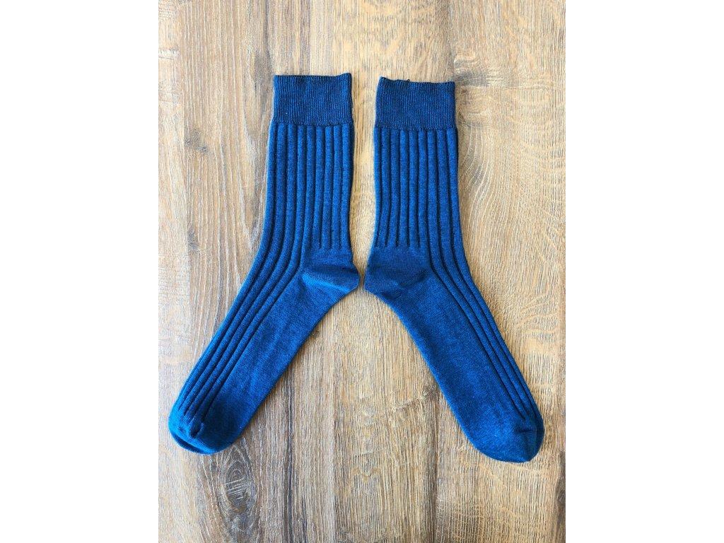 Ponožky žebrované modré