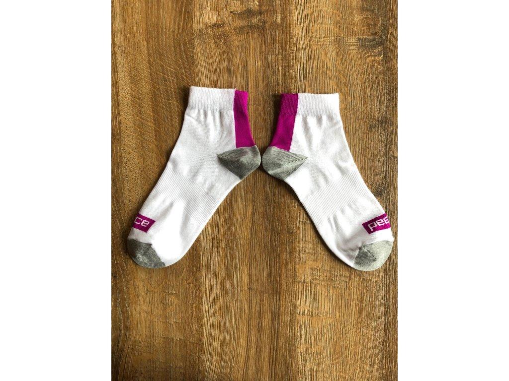 Ponožky kotníkové PEACE bílo-fialové