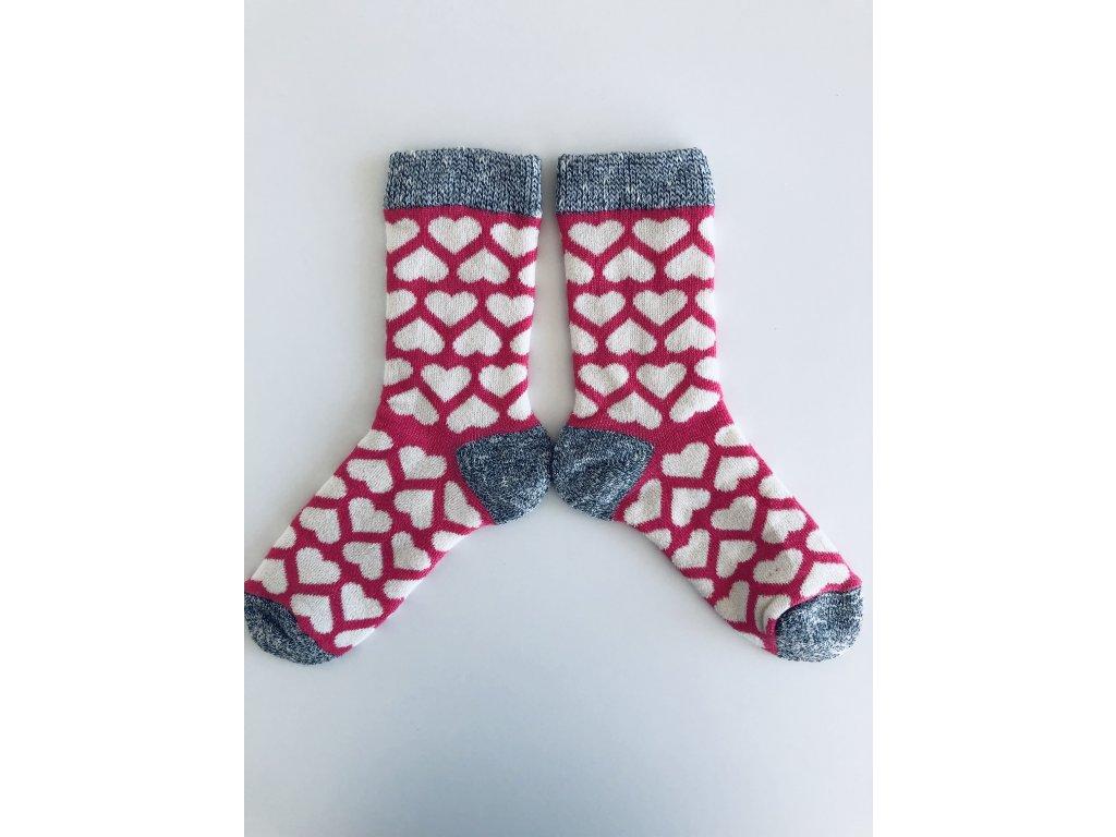 Ponožky zimní srdíčka