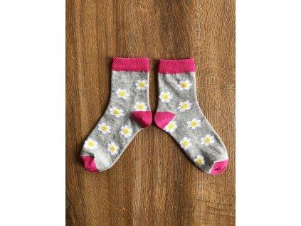 Ponožky Květinka šedá