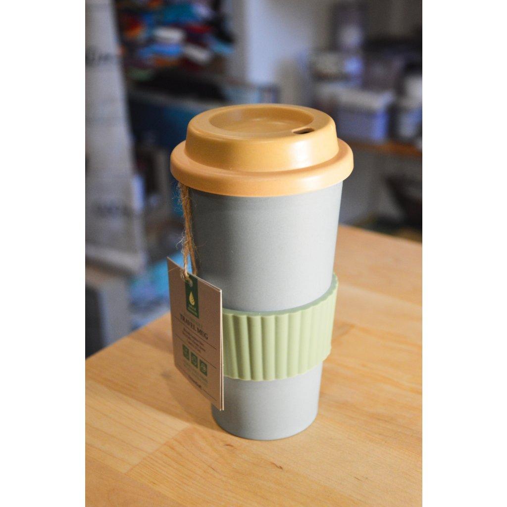 Cestovní bambusový pohár šedomodrý