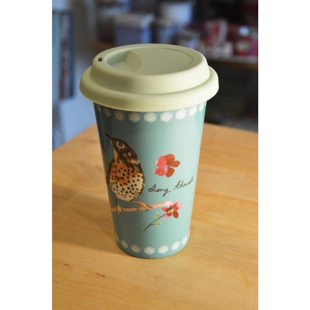 Cestovní keramický pohár s ptáčkem