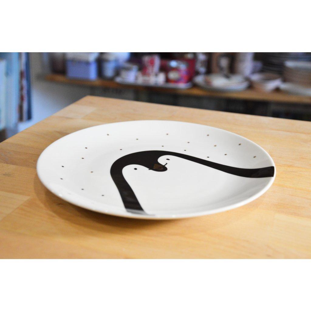 Porcelánový mělký talíř Tučňák s hvězdičkami