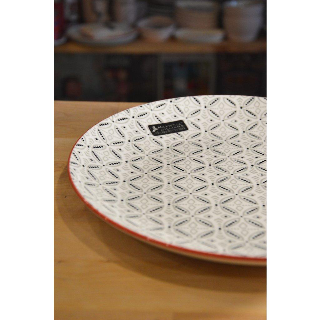 Porcelánový mělký talíř velký Boho Batik šedý