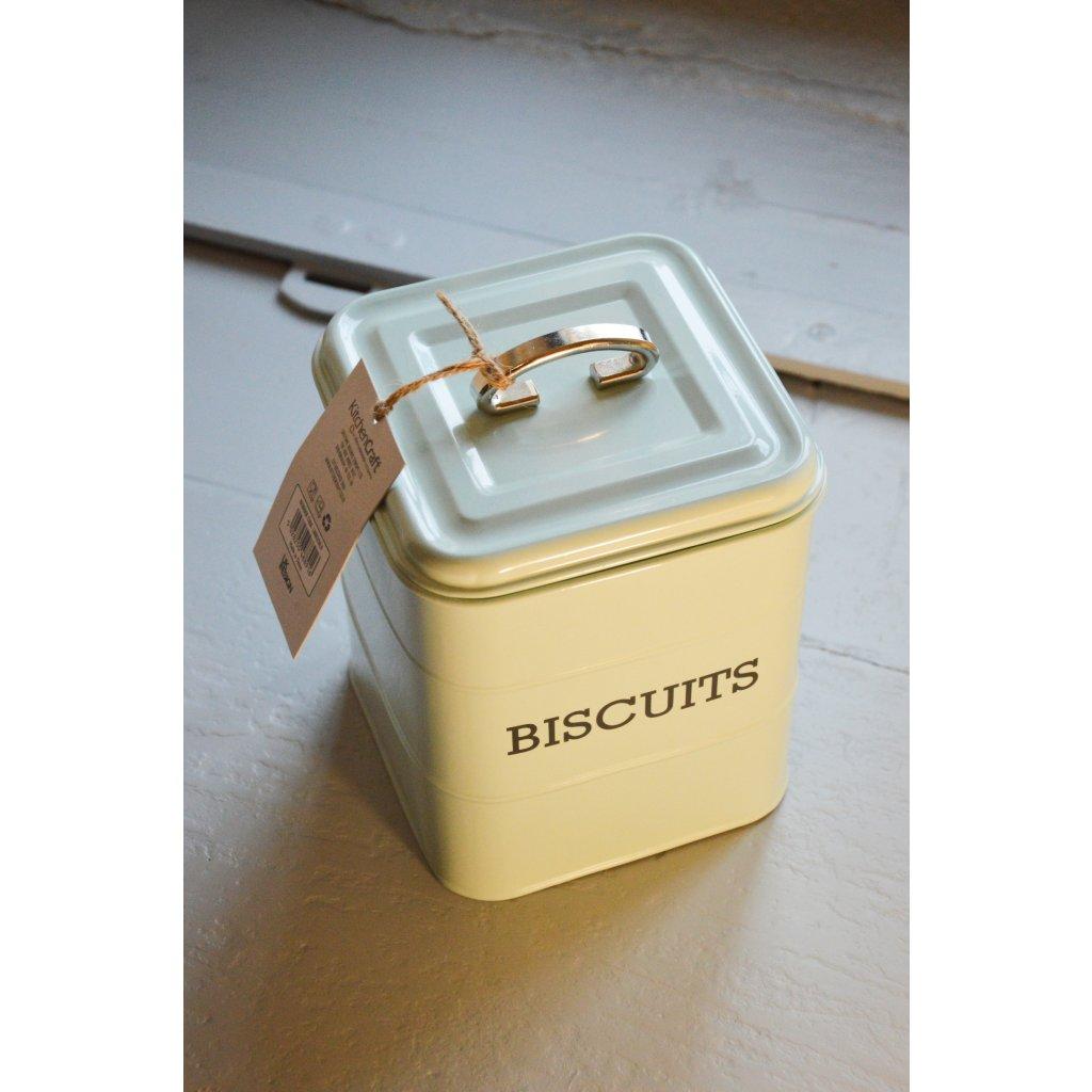 Dóza plechová bílá se stříbrným uchem Biscuits - Na sušenky