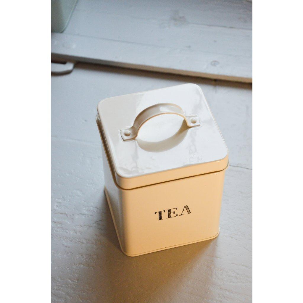 Dóza plechová bílá Tea - Na čaj