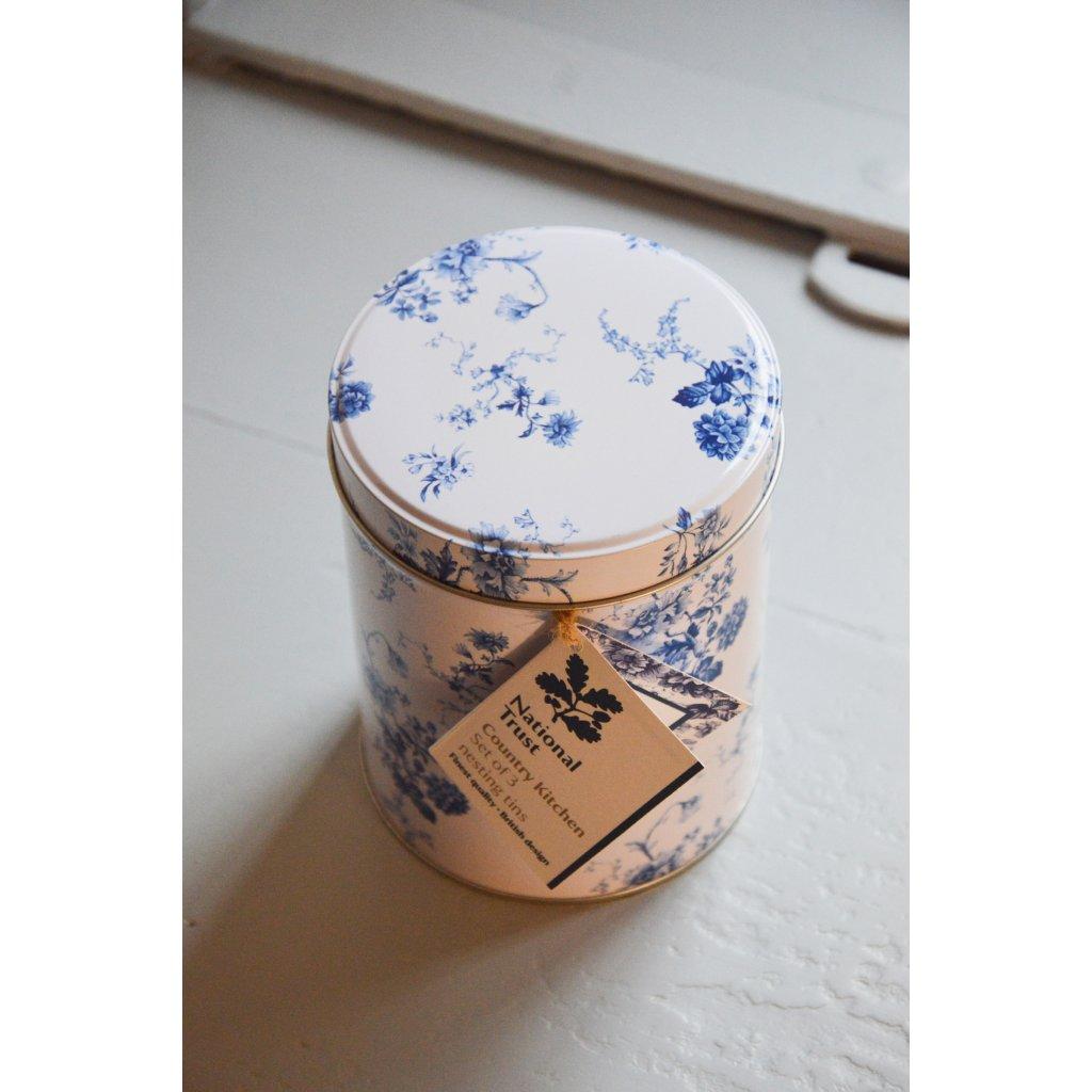 Dóza plechová bílá střední s modrými květy