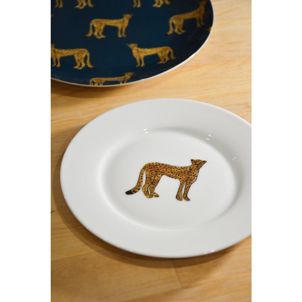 Porcelánový mělký talíř malý s Levhartem