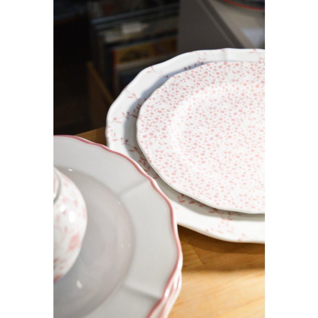 Porcelánový mělký talíř bílý s růžovými tečkami