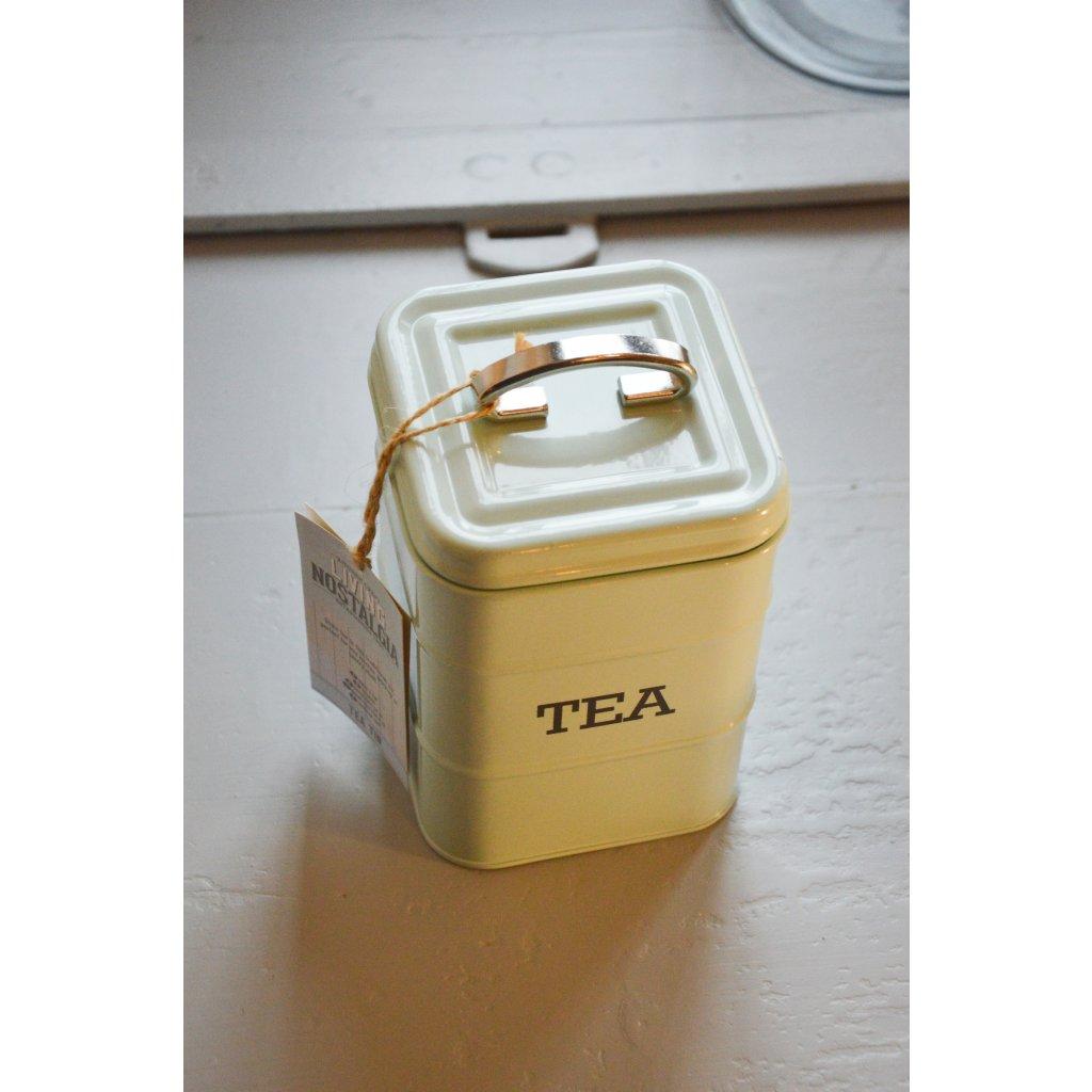 Dóza plechová mentolová se stříbrným uchem Tea - Na čaj