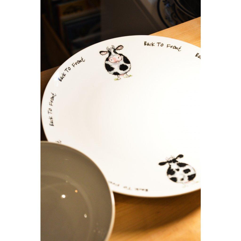 Porcelánový mělký talíř B2F s kravičkami