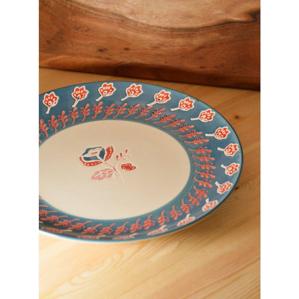 Keramický talíř velký s květinovým motivem glazovaný