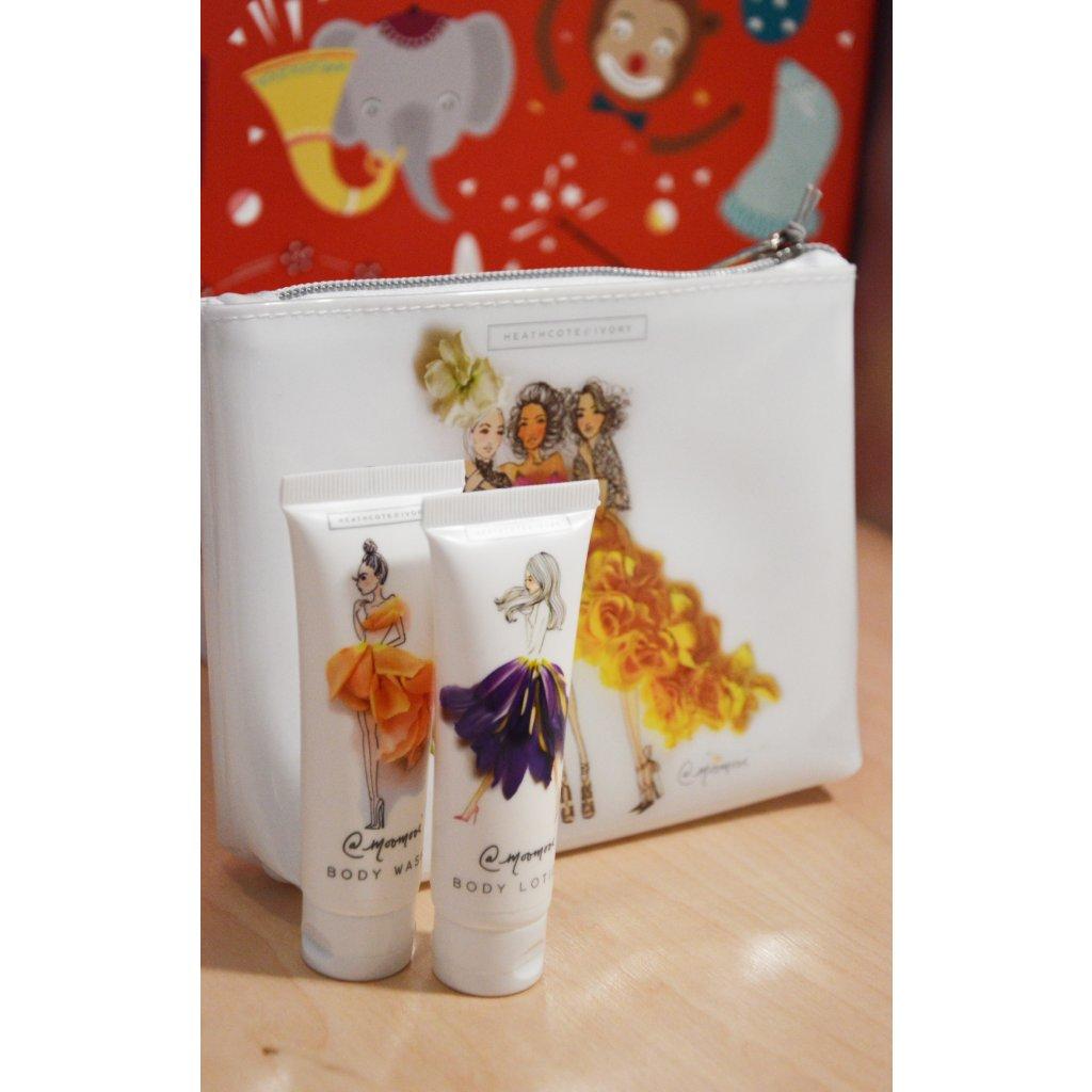 Kosmetická taštička se sprchovým gelem a tělovým mlékem