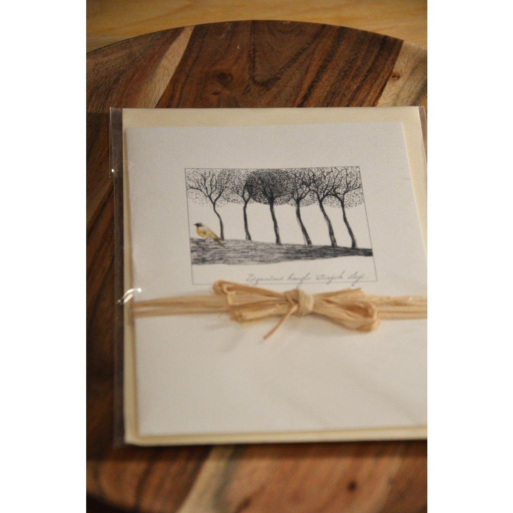 Ručně malované přání Černobílé stromy