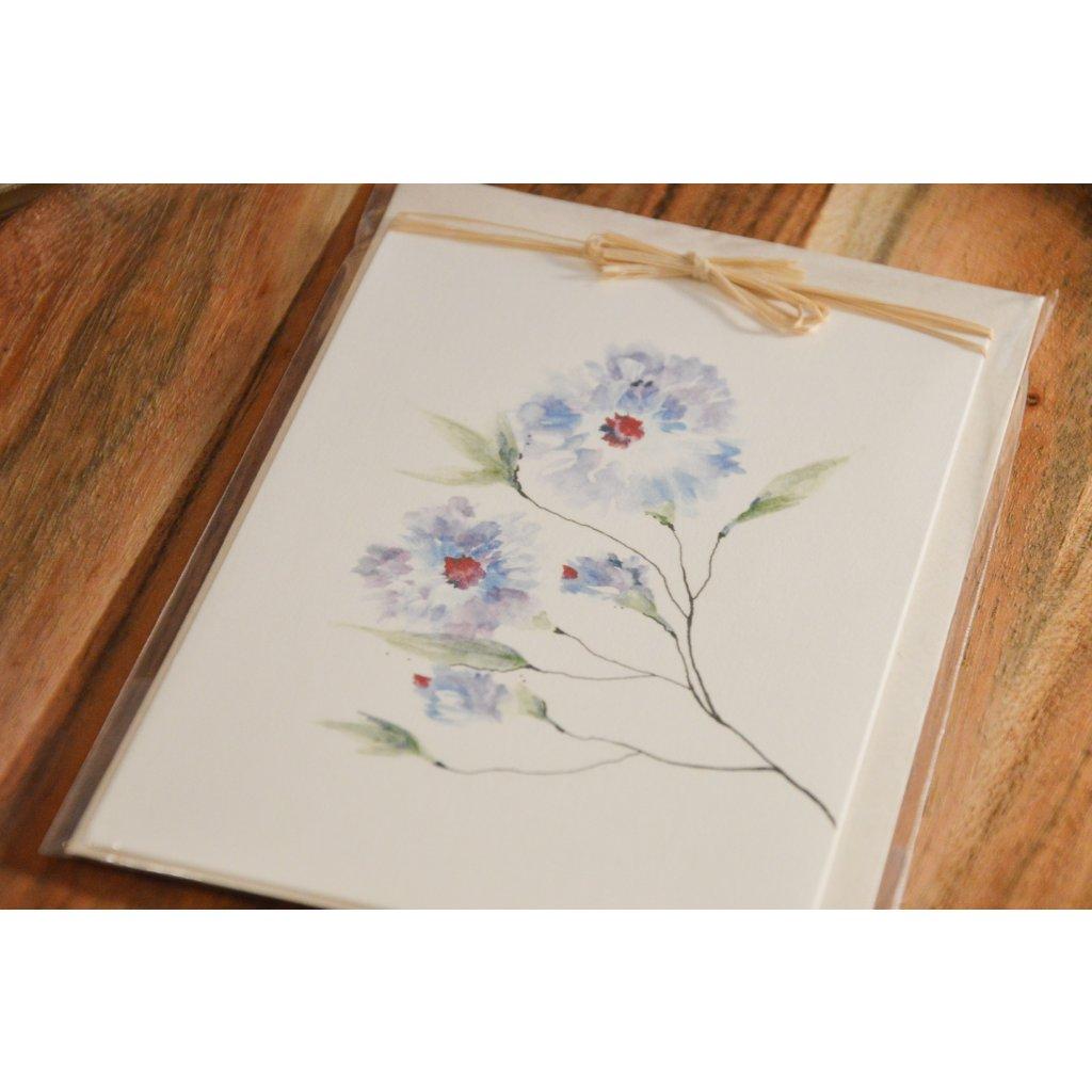 Ručně malované přání Modrá květina