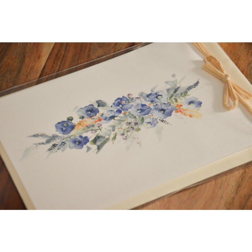 Ručně malované přání Modré květy