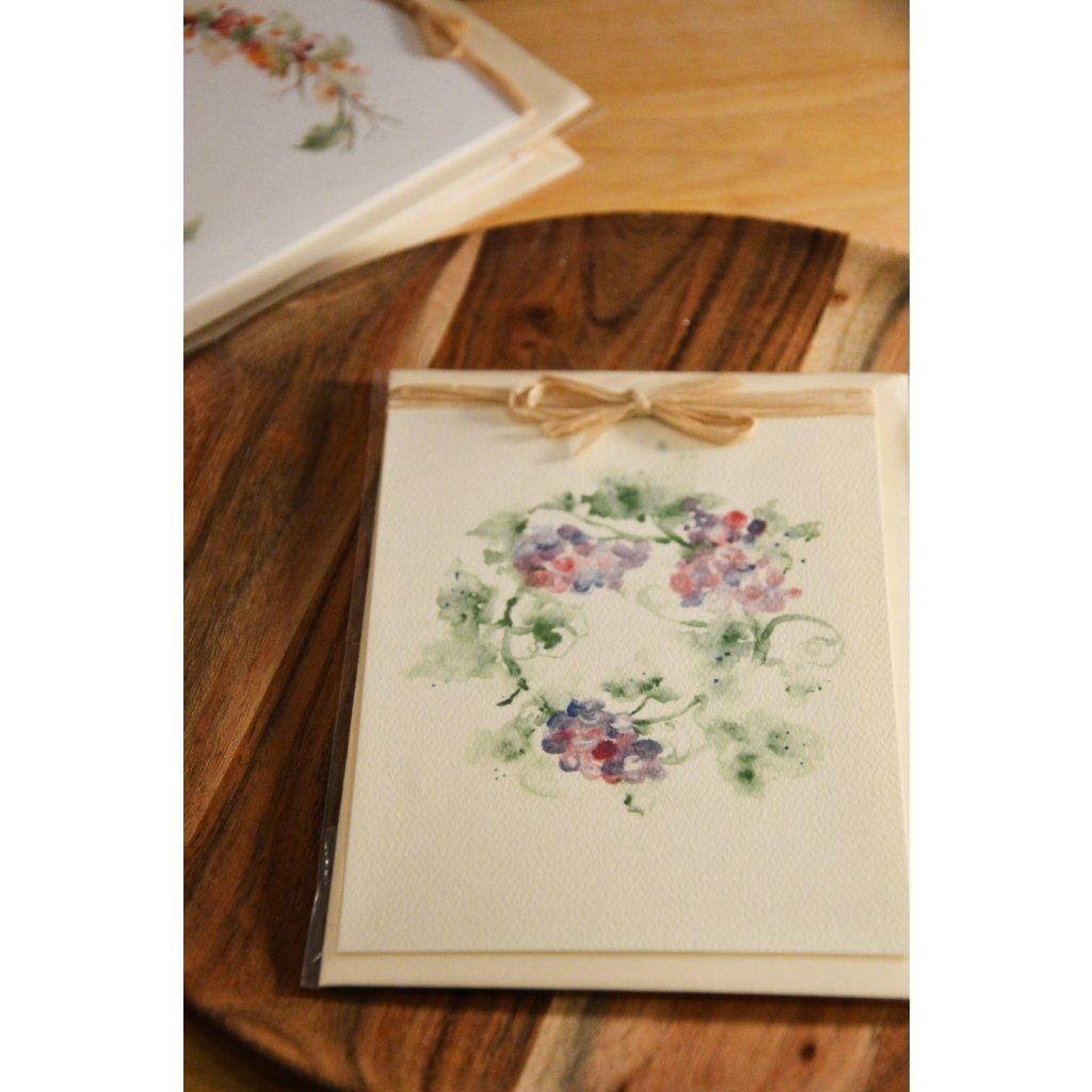 Ručně malované přání Věnec fialové květy