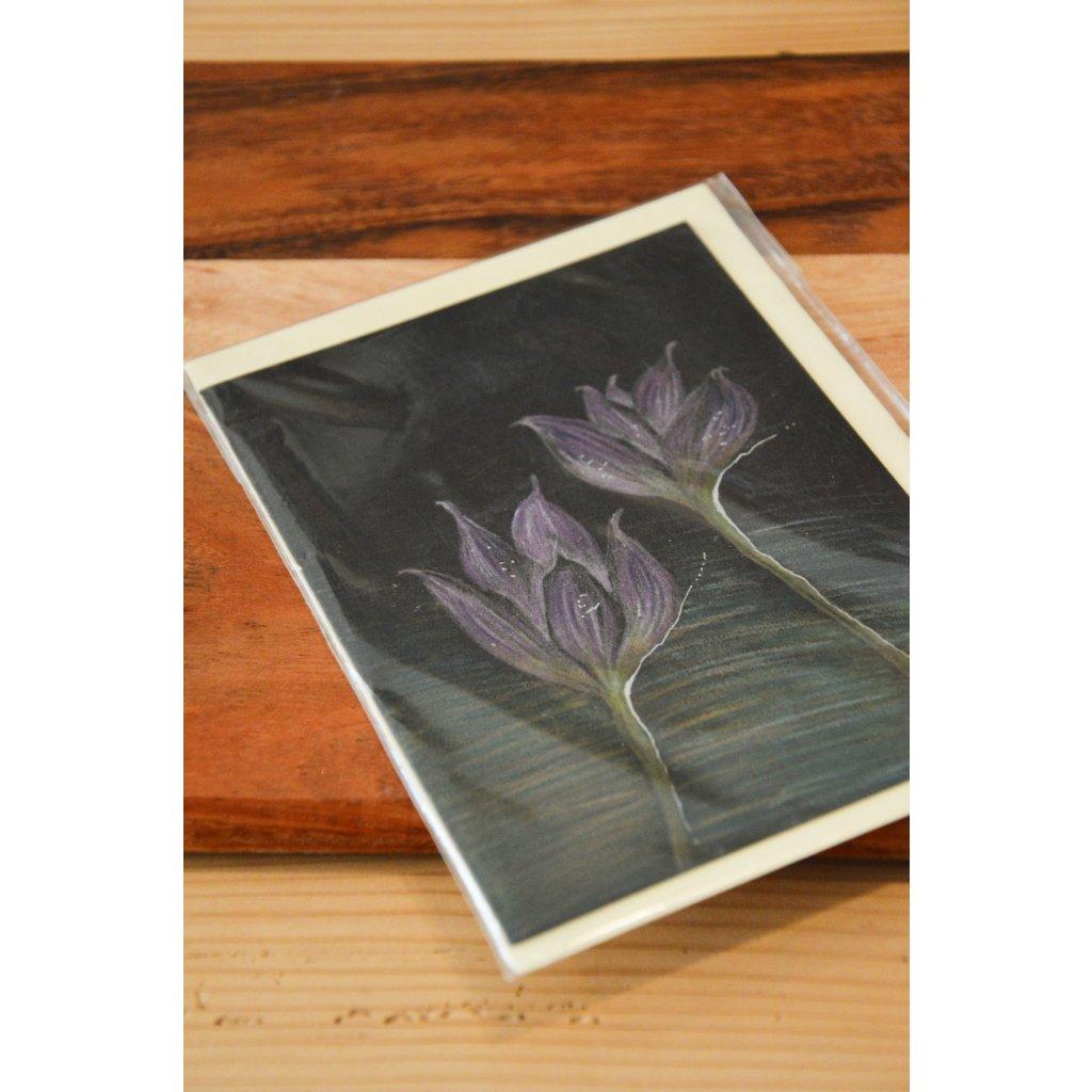 Ručně malované přání Fialové květy