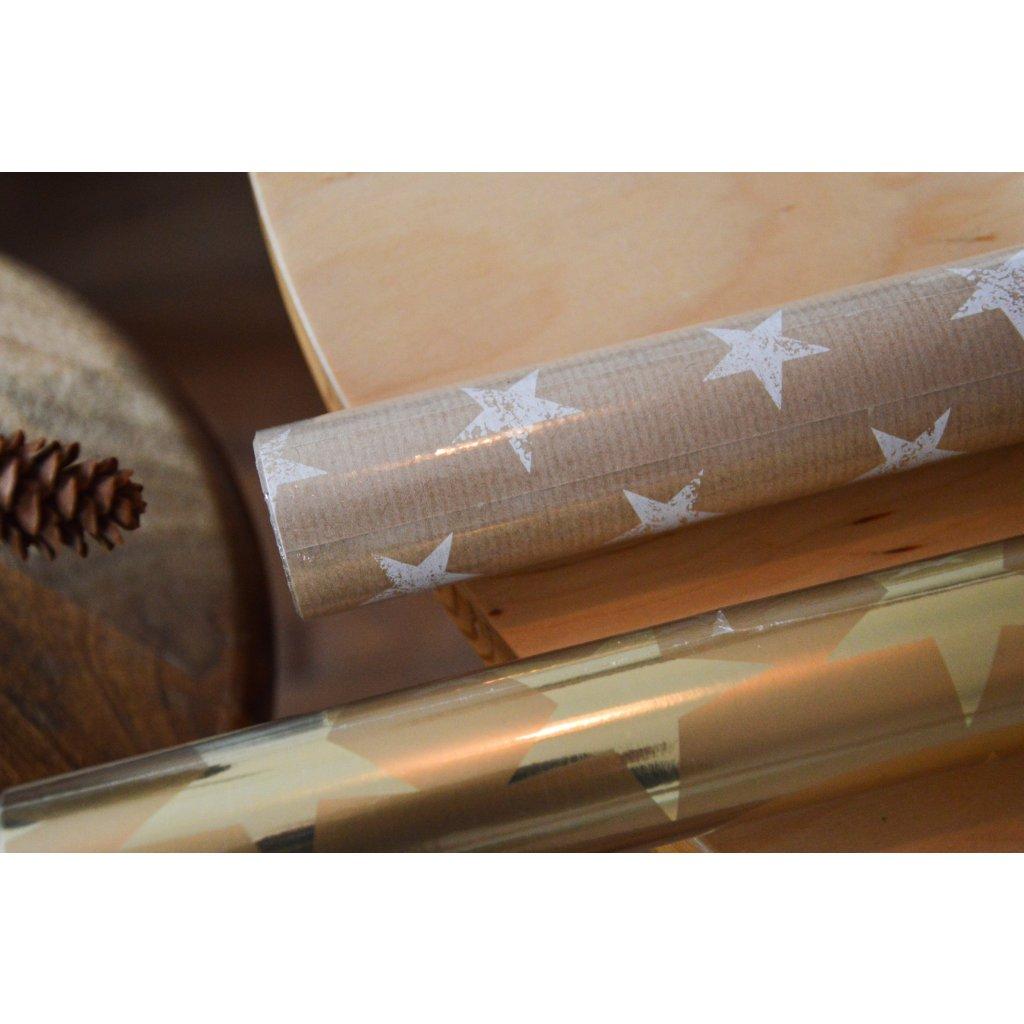 Balící papír na dárky Přírodní s hvězdami