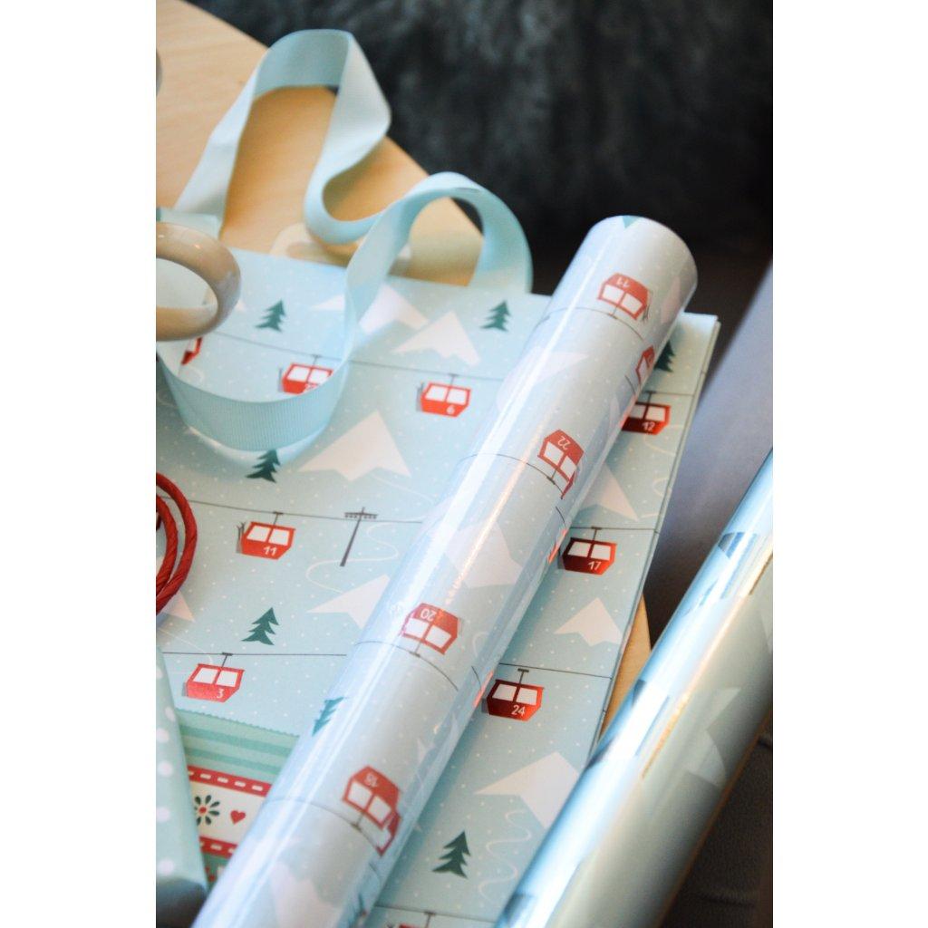 Balící papír na dárky Lanovka