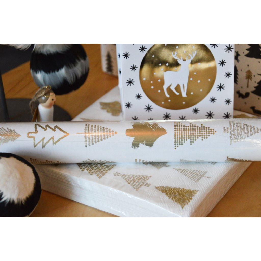 Balící papír na dárky Zlaté stromečky
