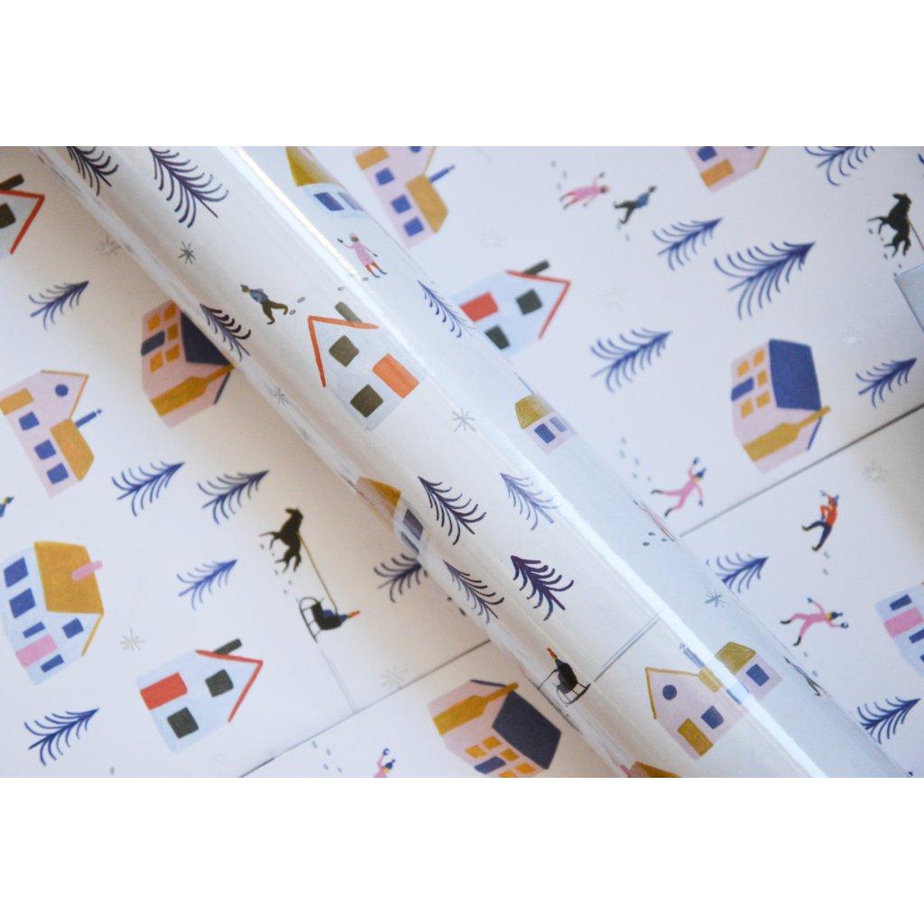 Balící papír na dárky Domečky